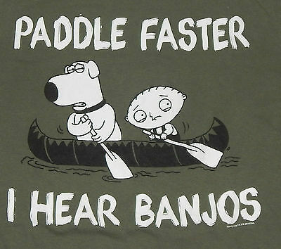 VINTAGE FAMILY GUY APPAREL T-SHIRT WITH BRIAN & STEWIE~ARMY GREEN~WHITE GRAPHICS