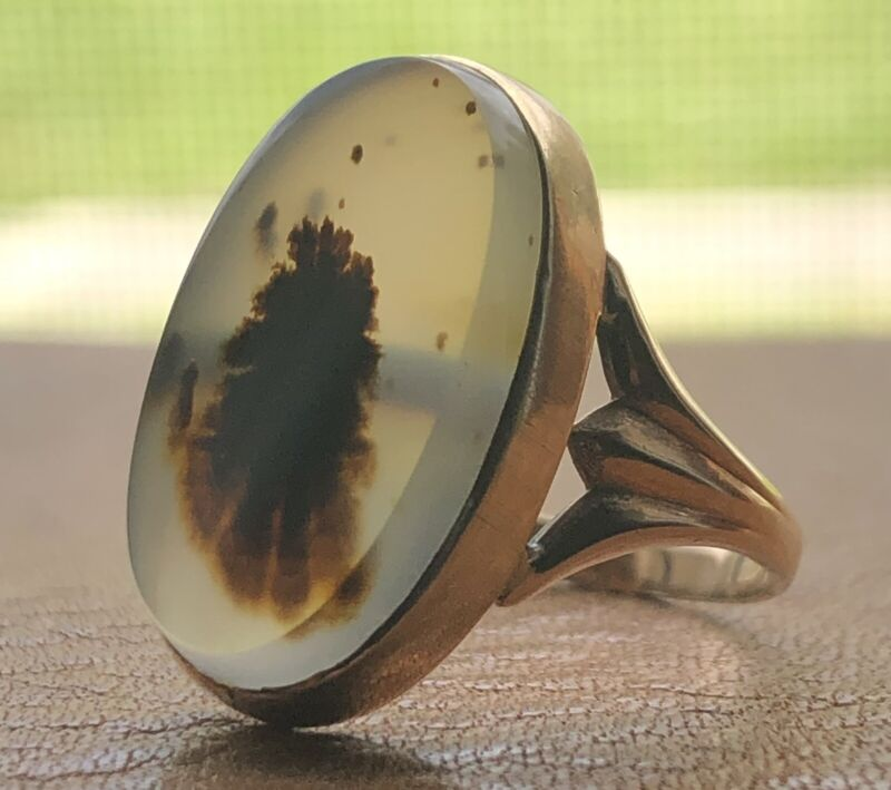 Antique Dendritic Moss Agate Ring 10K Yellow Gold Vintage Victorian Size 6.75