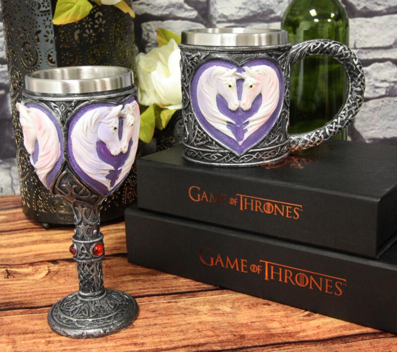 Sacred Love Unicorn Valentines Couple In Heart Shape Wine Goblet And Mug Set
