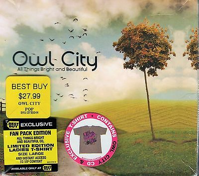 Owl City, All Things Bright & Beautiful, CD & T-Shirt, Fan Pack Edition, NEW
