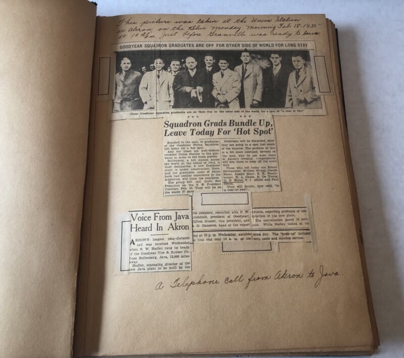 1935 GOODYEAR FLYING SQUADRON SCRAPBOOK EMPLOYEE JAVA INDONESIA BUILD TIRE PLANT