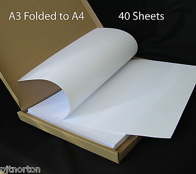 60 X A3 Plain White Paper - Folded To A4 Size- Shipped In Strong Box  Flyfold