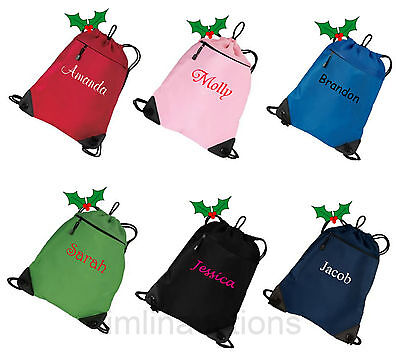 Personalized Monogram Drawstring Cinch Sac Tote Bag Backpack Christmas Stocking