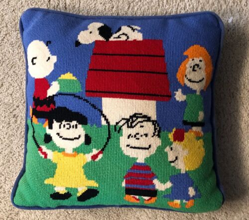 Vintage Completed Peanuts Needlepoint pillow the whole gang