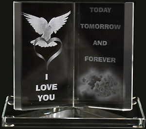 NEW ENGRAVED GLASS CRYSTAL BOOK GIFT SET POEM POETIC WRITING INSCRIBED ORNAMENT