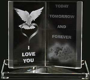 NEW ENGRAVED GLASS CRYSTAL BOOK GIFT SET POEM POETIC WRITING SENTIMENT ORNAMENT