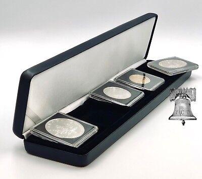 Lighthouse NOBILE Quadrum 5 Black Leather Coin Holder Snap Display Box Case Q5