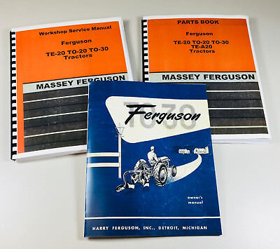 Harry Massey Ferguson To-30 Tractor Service Repair Parts Operators Manual Set
