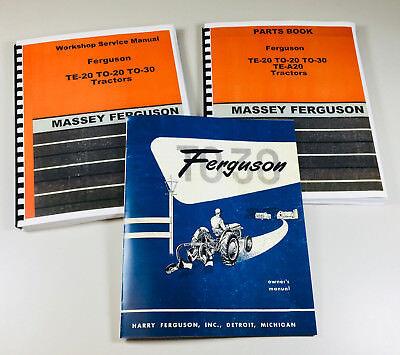 Harry Massey Ferguson To-30 Tractor Service Repair Parts Operators Manual Set