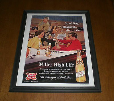 1964 MILLER HIGH LIFE BEER BOWLING FRAMED COLOR PRINT