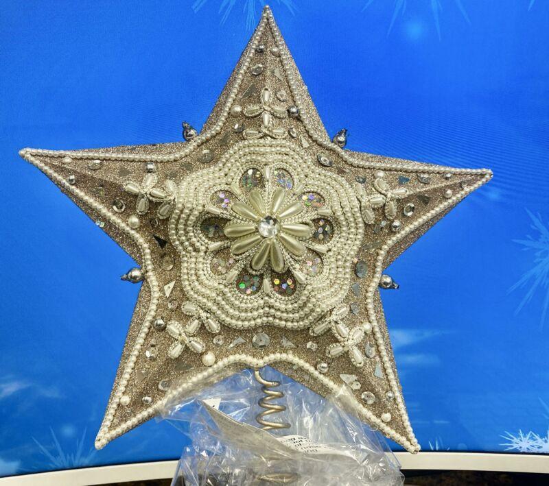 "Kurt Adler 13.5"" Star Treetop w/ Ivory Pearls & Platinum Glass Glitter~Christmas"