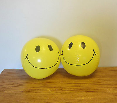 """2 NEW LARGE 15"""" SMILE FACE INFLATABLE BEACH BALLS  POOL BEACHBALL PARTY FAVORS"""