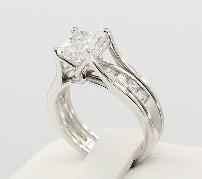 Gold Duo Band Ring - 2 Ct 14K Real White Gold Princess Cut Wedding Engagement Duo Matching Ring Band