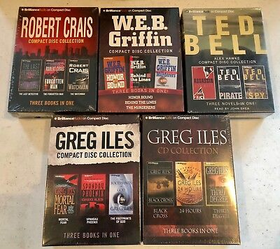 Lot Of 15 Audiobooks (5 CD Collections) by ILES, BELL, CRAIS, GRIFFIN  Brand New