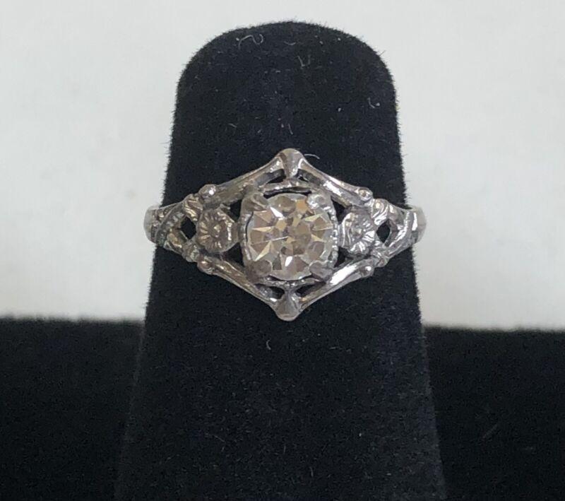 Childs Kiddiegem Faux Diamond Ring Shiny Size 2.5 Flower Marked Sterling Vintage