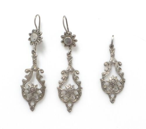 Antique Art Nouveau Sterling Silver Dangle Drop Ear Wire Earrings Pendant Set