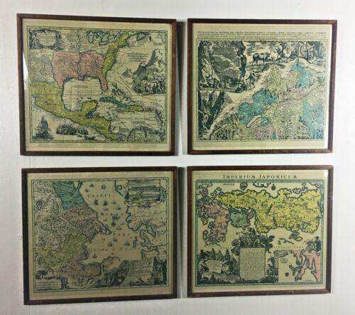 Antique Victorian Set of 4 Framed & Glazed Tabula Geographica Map Prints Art