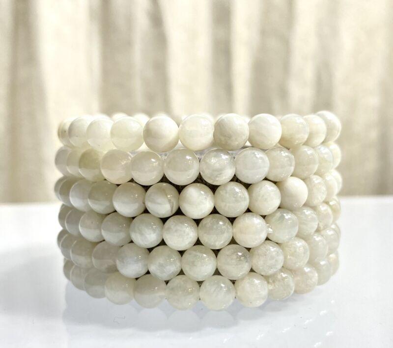 "Wholesale 6 Pcs Natural moonstone 6mm 7.5"" Crystal Stretch Bracelet"