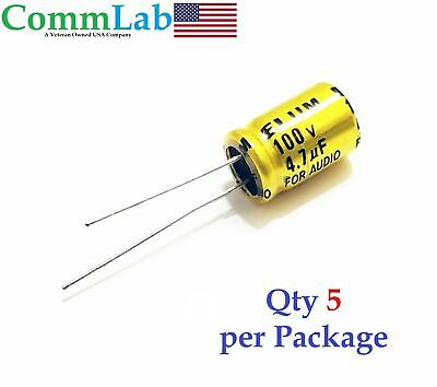 4.7uf 100v Non-polarized Electrolytic Radial Lead Capacitor Qty 5 Np Bp