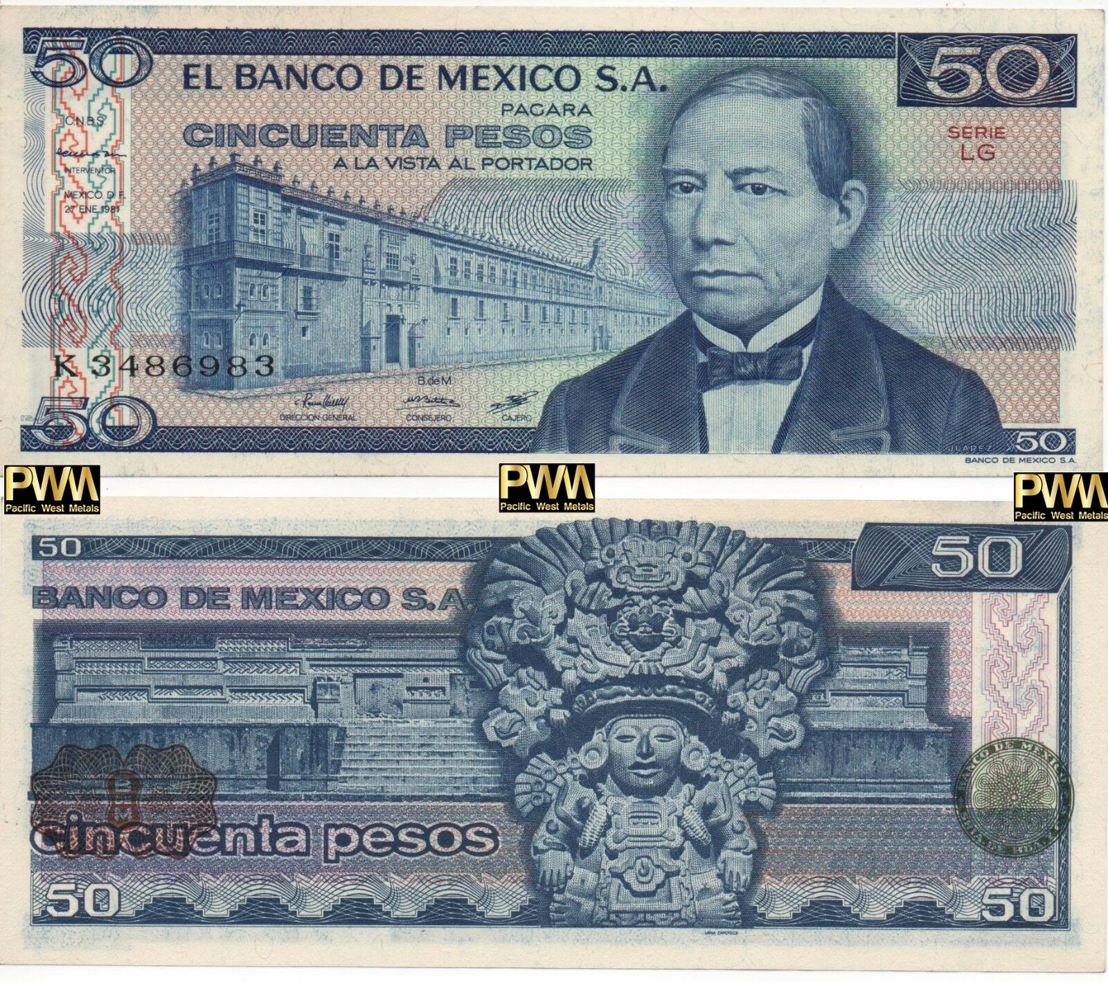 Mexico Banknote 50 Pesos AU UNC CRISP Paper Money - Mix Year - Mexican Bills