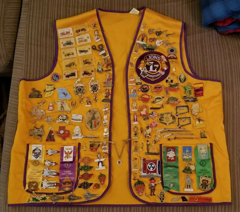 Lions Club Pin Lot, 2 Vests, Patches - TN Cats, KY Rifles, Space Shuttles, Etc