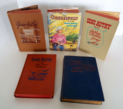 Vintage Gene Autry Red Ryder Book Collection 1944-1950 Whitman 5 Pc Western Lot