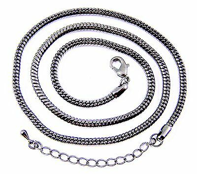Necklace Chain Snake Gunmetal Black Plate Adjustable 19 20 21 Inch, 3mm - 3mm Thick Snake Chain
