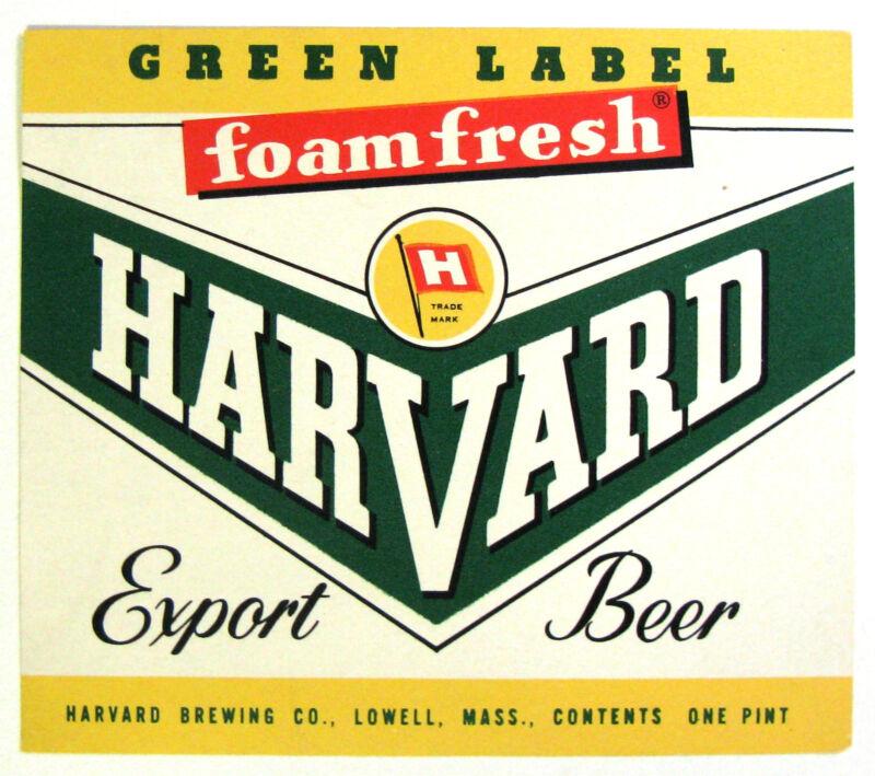 Harvard Brewing Co GREEN LABEL HARVARD EXPORT BEER label MA 16oz