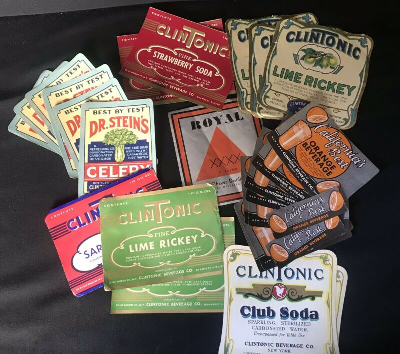 28 Vintage Soda Pop Bottle Product Labels CLINTONIC STEINS CALIFORNIA BEST ~ YGF
