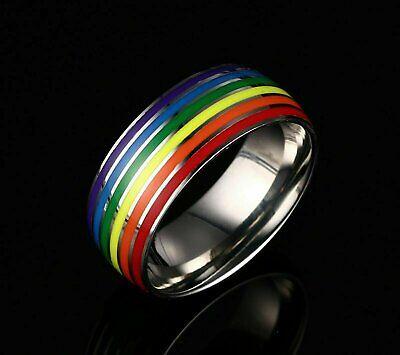 LGBT Pride Gay Lesbian Pride Ring Rainbow Enamel Color Unisex 8mm Wedding Band Fashion Jewelry