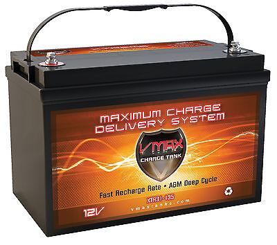 XTR31-135 12V AGM Marine Battery Group31 12 Volt 135Ah Deep Cycle Trolling Motor