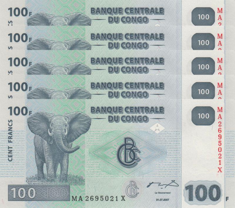 LOT, Congo DR 100 Francs (31.07.2007) p98 x 5 PCS UNC