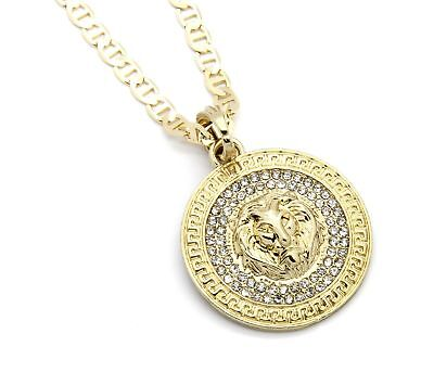 "Mens Medallion Pattern Lion Gold Plated 24"" Gucci Chain Pendant Necklace"