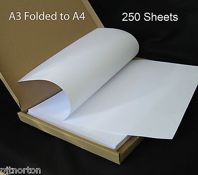 250 X A3 Plain White Paper - Folded To A4 Size - Flyfold
