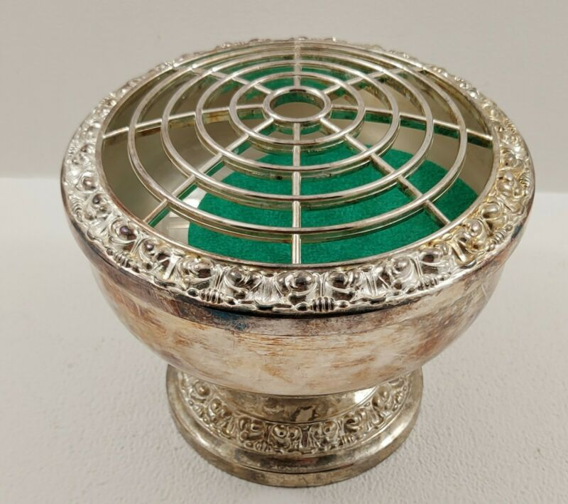 Large Vintage Silver Plated Ianthe Rose Bowl / Flower Arranger / Urn Vase