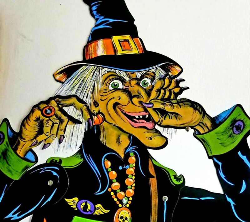 BIG 4.75FT-TALL-BEISTLE JOINTED HALLOWEEN WITCH REPRO VINTAGE DESIGN-1976!