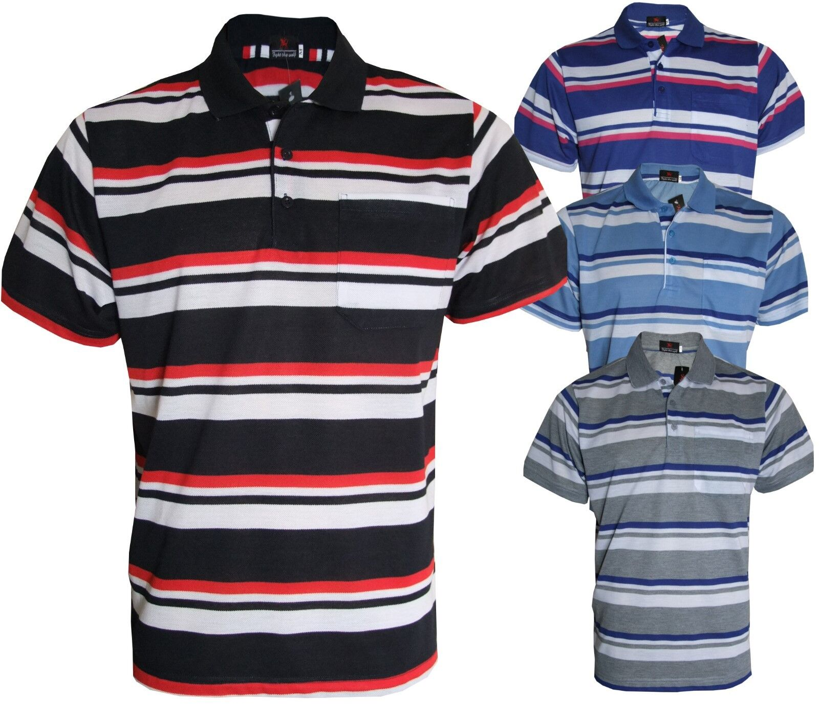 Men/'s Striped Polo T-Shirt Original Classic Loose Fit Pique Casual Tops M to 3XL
