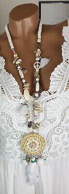 ie Ibiza Festival Perlen Fransen Muscheln Quasten weiß Peace (Hippie Peace Halskette)