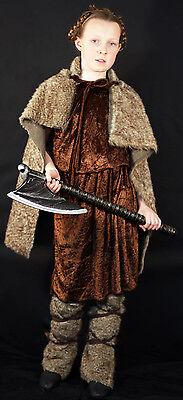 Mädchen Viking-Celt Dunkel Age-Celtic-Fake Pelz Krieger Kostüm Jedes Alter