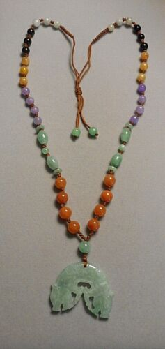 Chinese Multi Stone Bead Necklace w Mottled Celadon Carved Dragon Heads Pendant