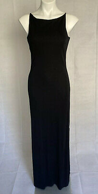 Lauren Ralph Lauren M Black High Neck Sleeveless Maxi Dress Side Slit Formal EUC