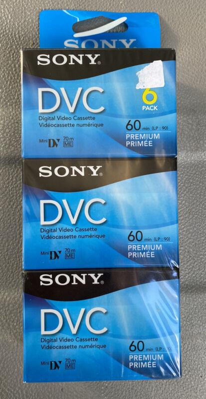 Sony DVC Mini DV 60 Minute 6 Pack Premium Cassette Tapes (FACTORY SEALED)