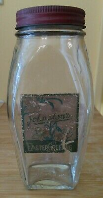 Vintage JOHNSTONS ART DECO CANDY JAR glass ARIDOR lid label EASTER GREETING Lily