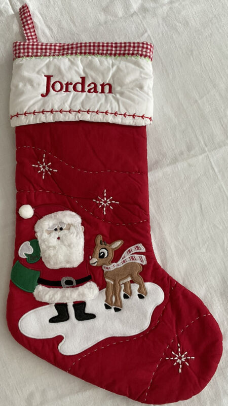 "Pottery Barn KIDS RUDOLPH THE RED NOSED REINDEER CHRISTMAS STOCKING ""JORDAN"""