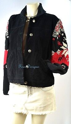 CWC Coldwater Creek Leather Suede Jacket chunky knit Sweater Coat Top PM VTG NEW