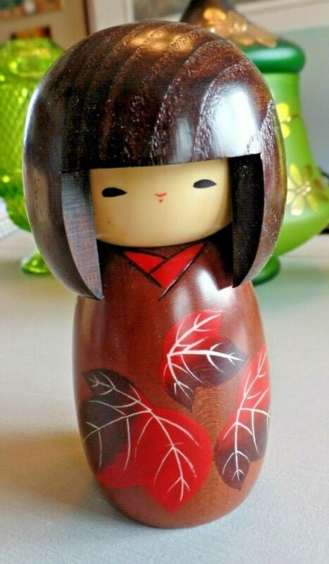 "Kokeshi Tsubaki 5"" Japanese Wood Doll ""Kan-tsubaki"" (Camellia) IOB Autumn"