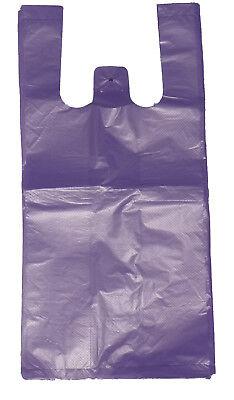 200 Purple Plastic T-shirt Shopping Bags Handles Retail Grocery 11.5x6x21
