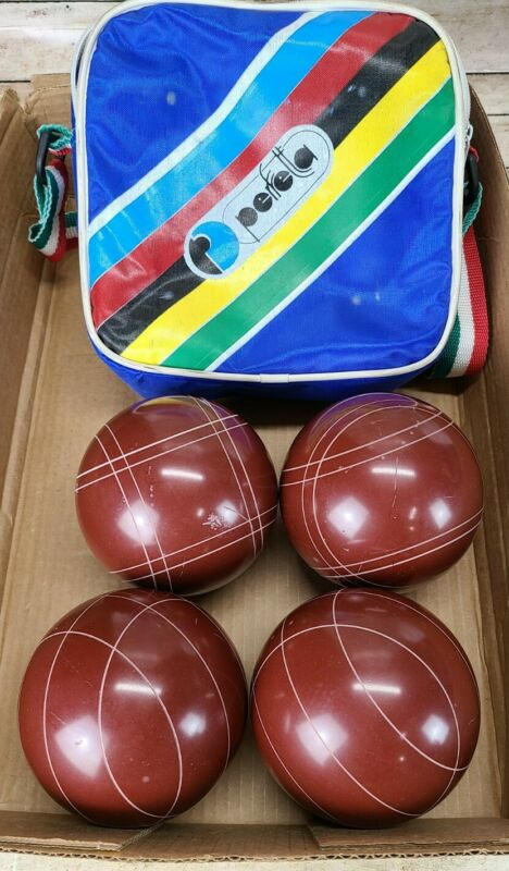 Vintage Brown Perfetta Bocce Ball Set Of 4 With World Champion Bag from Italy