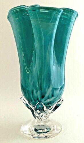 Hand Blown Turquoise Blue & White Swirl Studio Art Glass Handkerchief Ruffle Rim