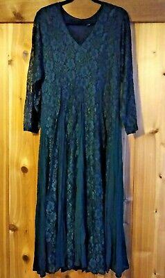 Vintage Nostalgia Green Maxi Dress Lace Overlay Grunge Boho Steampunk Goth Sz M